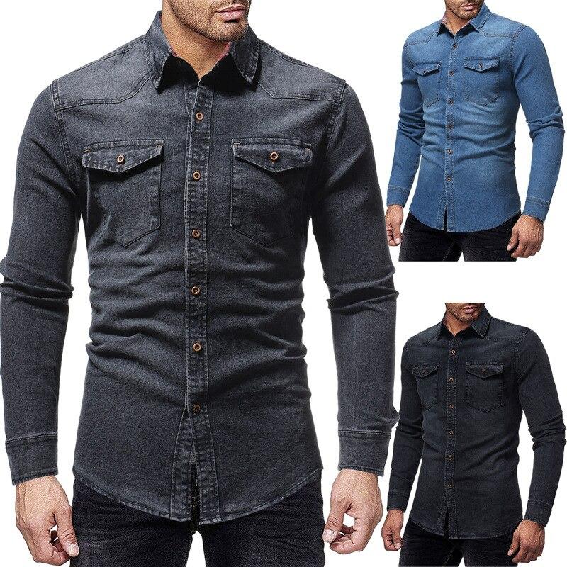 Shirt Men Casual  Jeans Dress Shirt  1