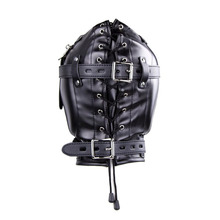 Leather Hood with Open Mouth Gag With Padded Blindfold