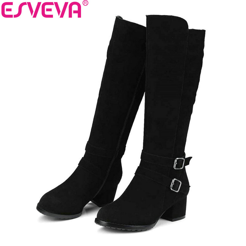 ESVEVA 2018 Elegant Women Boots Short Plush Knee-high Boots Cow Suede Ladies Warm Square High Heels Ladies Long Boots Size 34-40 esveva 2018 winter women boots over knee high boots real leather scrub boots square heels short plush ladies boots size 34 39