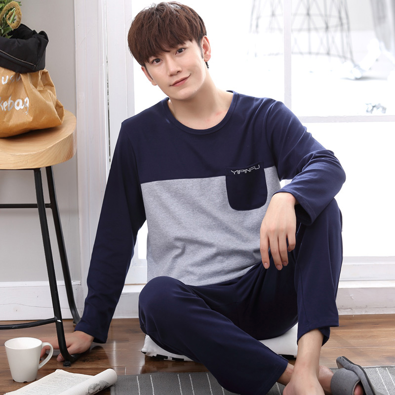 Yidanna Comfortable Striped Pajamas Set For Men Pyjamas Male Long Sleeve Cloth Casual Nighties Cotton Plus Size Sleepwear Autumn