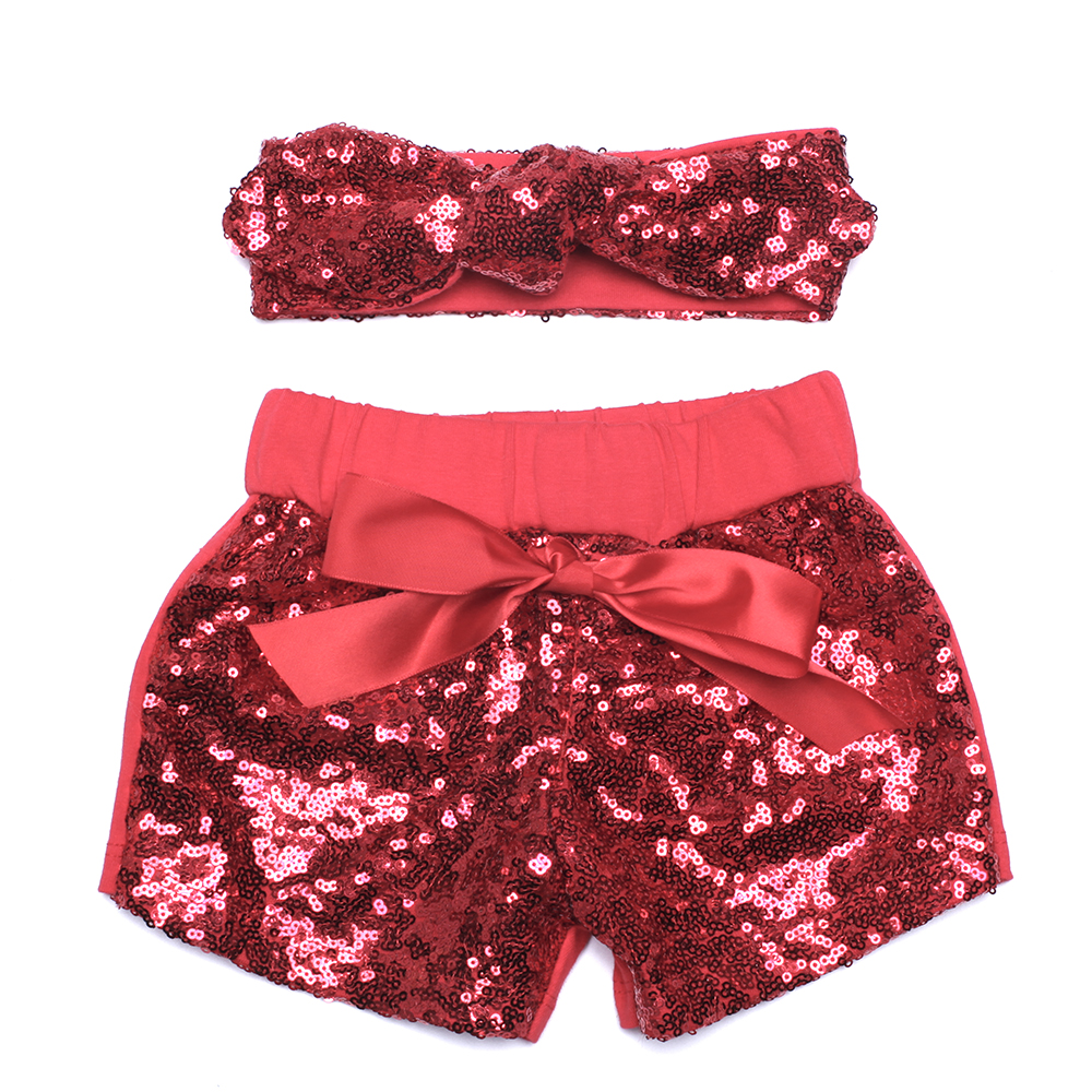 Girls Red Sequin Shorts With Matching Bow Baby Shorts Toddler