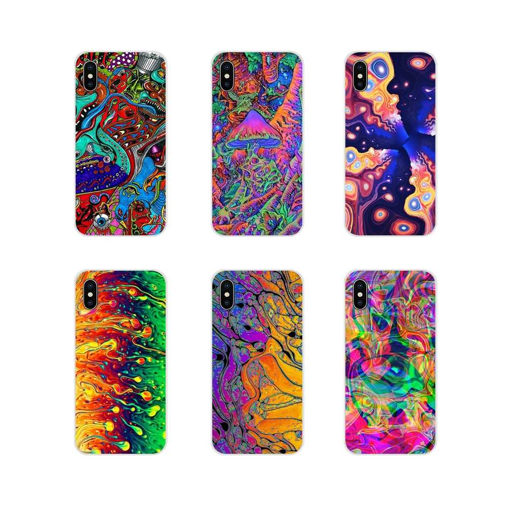 Voor Apple iPhone X XR XS MAX 4 4 S 5 5 S 5C SE 6 6 S 7 8 plus ipod touch 5 6 abstracte Heldere LSD Trippy Accessoires Telefoon Skin Case