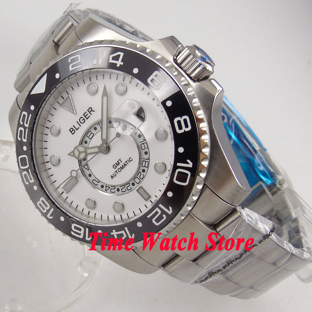 Bliger 43mm white dial sapphire glass ceramic bezel 24 hours GMT Automatic movement Mens watch men 238Bliger 43mm white dial sapphire glass ceramic bezel 24 hours GMT Automatic movement Mens watch men 238