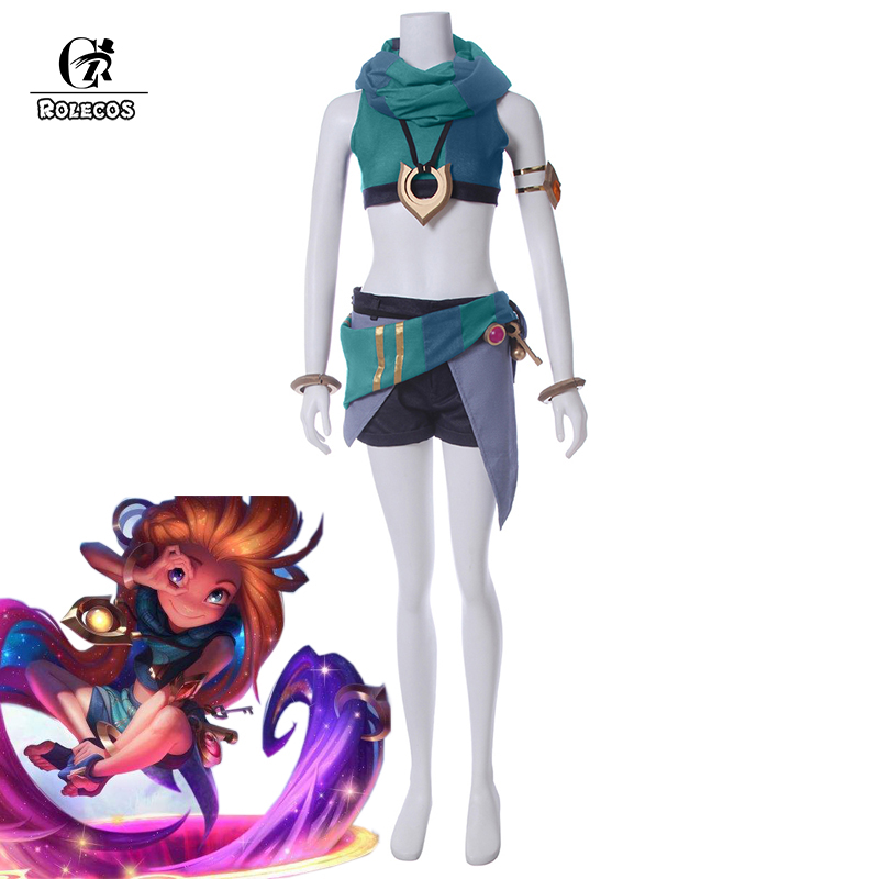 ROLECOS LOL Cospaly Costumes Zoe Cosplay Costume Aspect of Twilight Cosplay Top Shorts Scarf Full Set