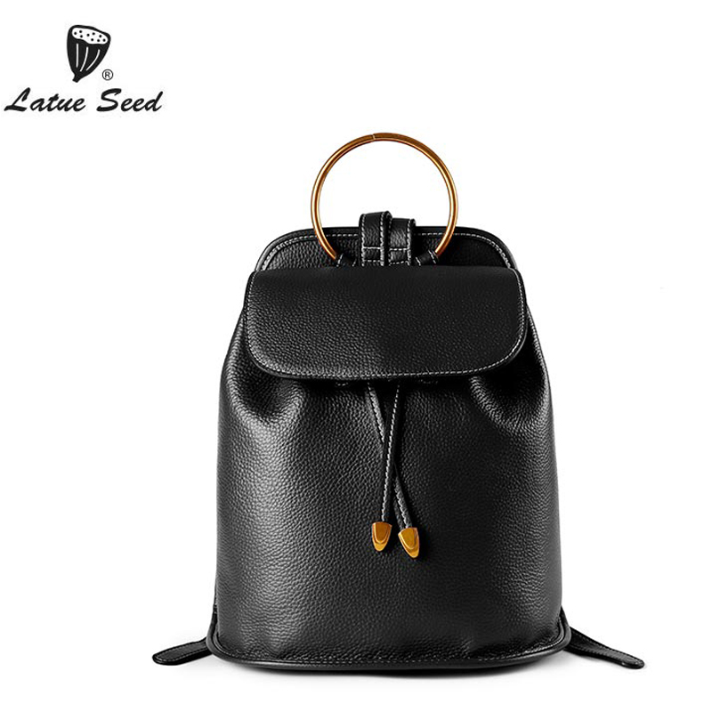Latue Seed Backpack Women Genuine Leather 2018 New Solid Wild Tide Oxford Cloth Casual Ladies Fashion Backpack Black Green backpack women new backpack girl korean fashion oxford cloth soft leather back black bags