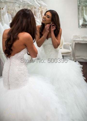 Dropped Waist Ball Gown Wedding Dress 2016 vestidos de novia Lace ...