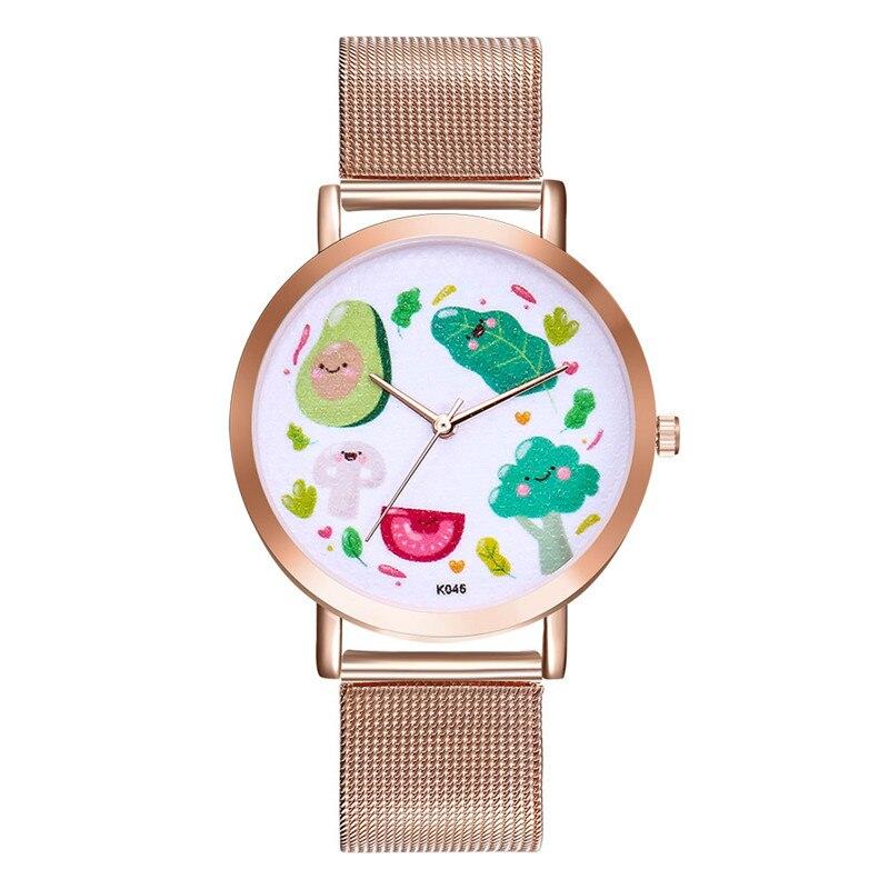 FUNIQUE Ultra Thin Wristwatch Women Cartoon Avocado Steel Quartz Clock Relojes Feminino Men Business Dress Watch Couple Watch