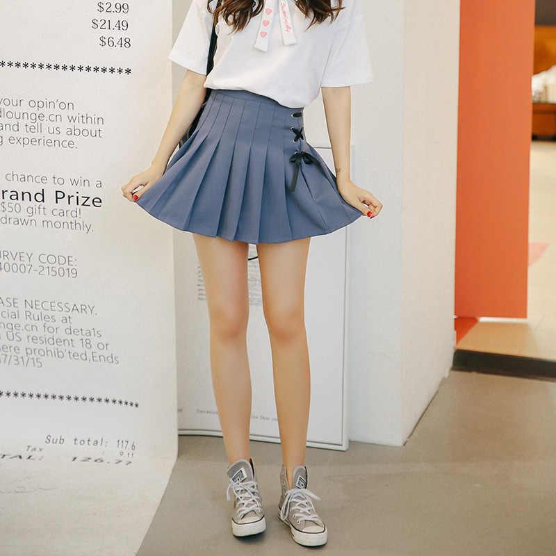 9c444bafaf Women's Skirts Japan Punk Kawaii Ulzzang Pleated Wild Casual Bow Tie Skirt  Female Korean Harajuku Cute