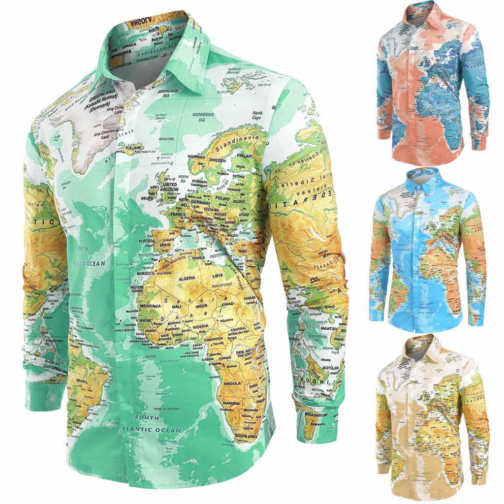 Feitong 브랜드 세계지도 블라우스 남자 캐주얼 세계지도 인쇄 단추 셔츠 탑 블라우스 남성 3D 캐주얼 셔츠 의류 2019
