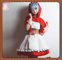 Game Anime Re:Life in a different world from zero cosplay Rem Ram cos cartoon girls Little Red Riding Hood cosplay costume dress