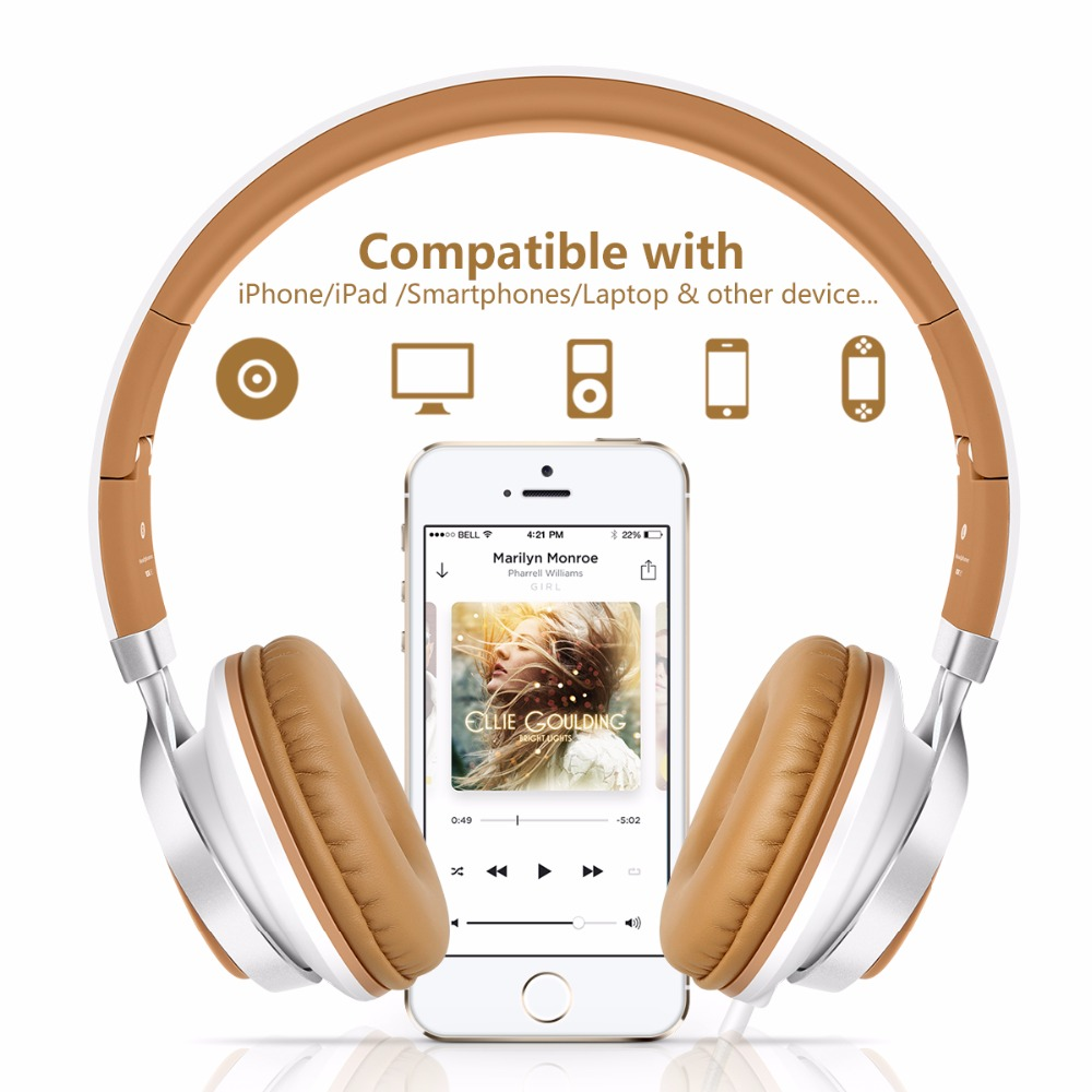 Sound Intone Headsets C8 Lightweight Foldable Headphones with Microphone and Volume Control for iPhone,Android Smartphones,Mp3 meelectronics atlas on ear headphones with inline microphone and universal volume control