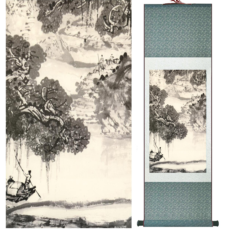 landscape painting Home Office Decoration Chinese scroll painting mountain and River paintingPrinted painting042602