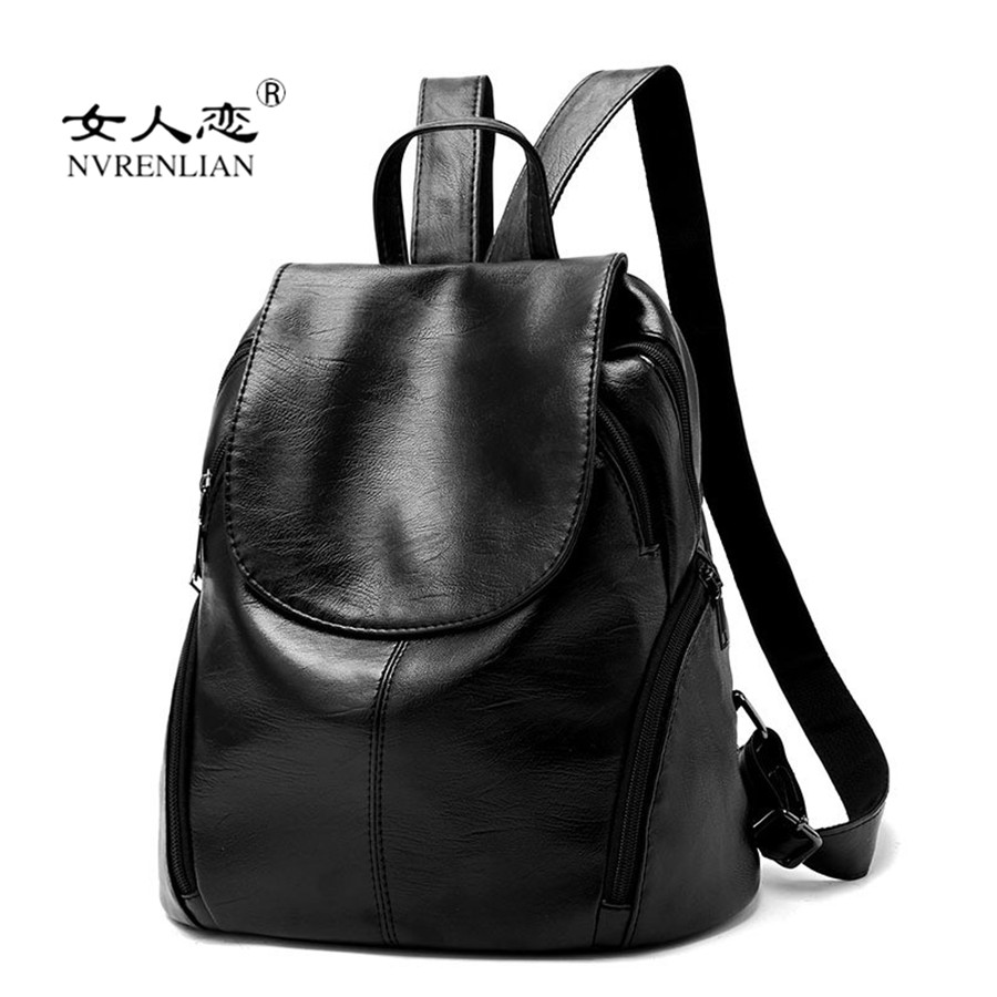 NVRENLIAN New 2017 Fashion Women Backpack Casual Leather Laptop Travel Bag for Teenage Girls Student School