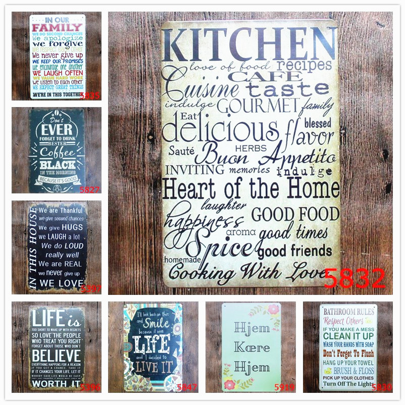 BATHROOM RULES Retro Plaque Metal Painting Bar Pub