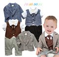 2015 Spring autumn baby boy clothing set infantil rompers with tie + coat baby boy clothes baby suit ropa de newborn set
