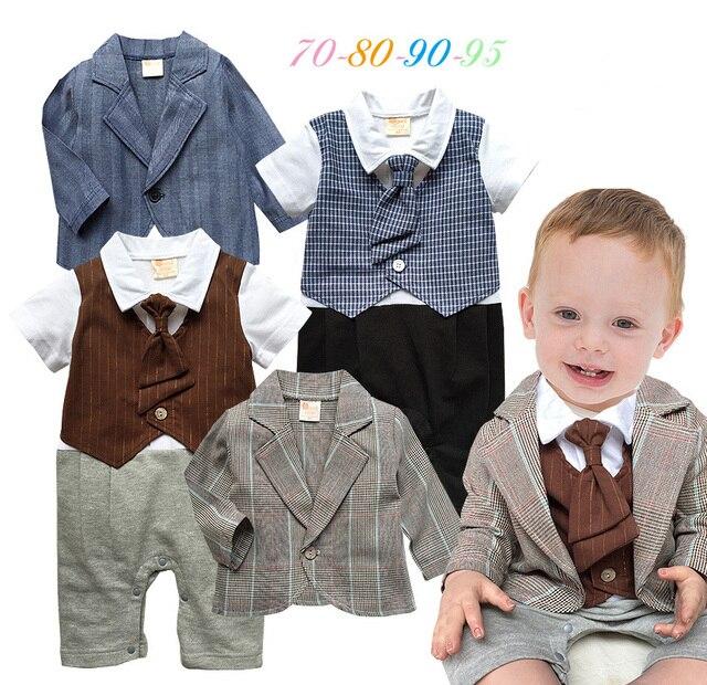 48d62665fe44e9 R$ 74.48  2015 primavera outono bebé conjunto de roupas infantil macacão  com gravata + casaco bebê menino roupas terno do bebê ropa de conjunto ...