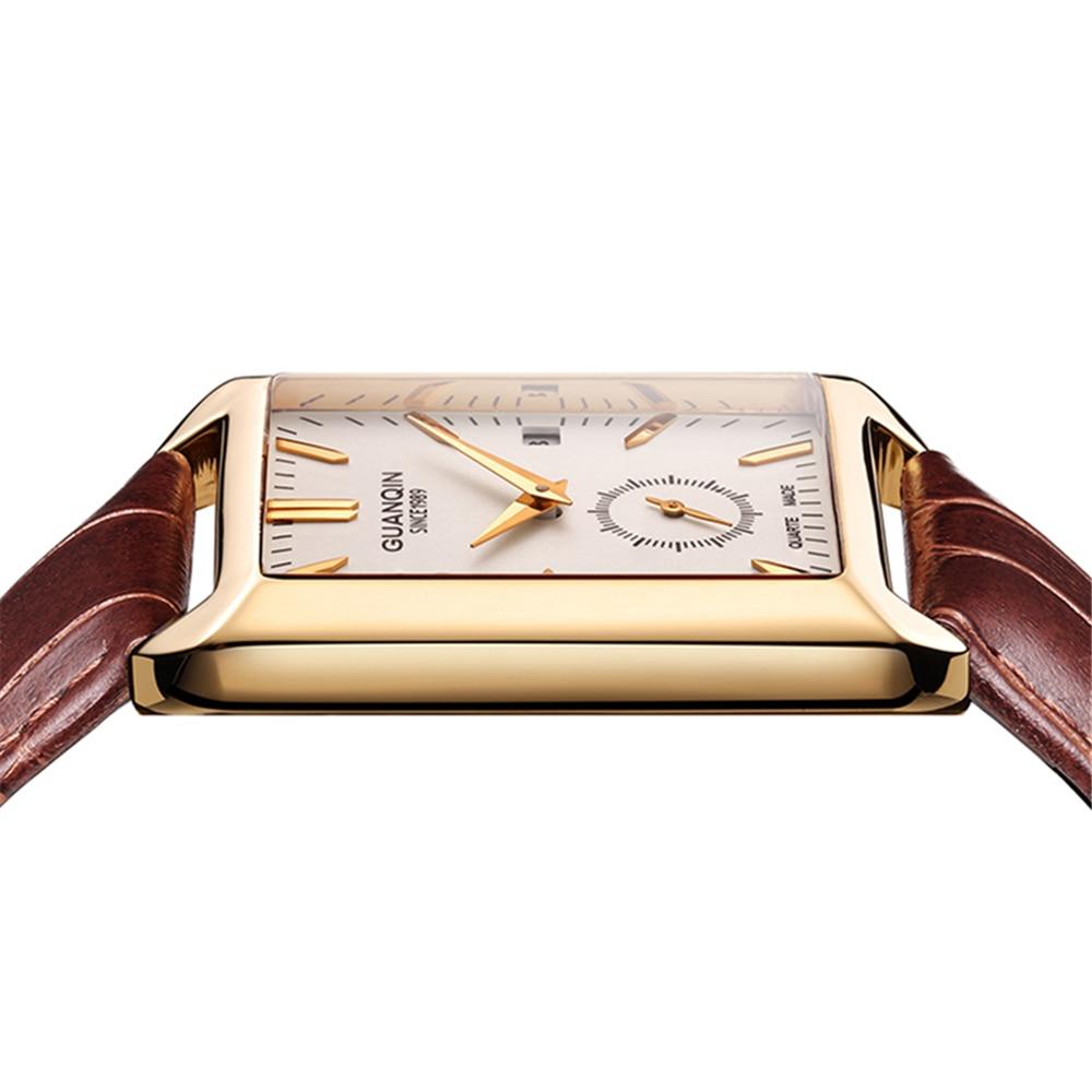 GUANQIN Watch Rectangular Quartz Mens Watches Top brand Luxury Clock Casual leather waterproof men watch erkek kol saati
