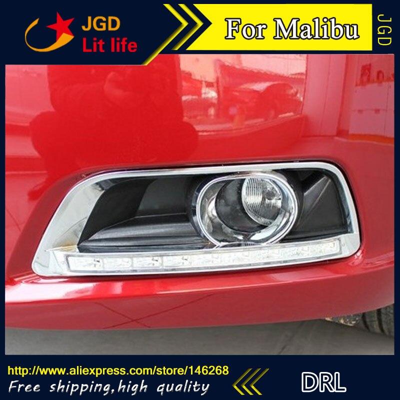 Free shipping ! 12V 6000k LED DRL Daytime running light for Chevrolet Malibu 2012-2013 fog lamp frame Fog light