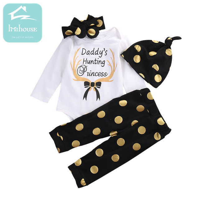 03b8d91090f60 US $11.59 |6M 24M Cute Baby Girls Clothes Set 4Pcs Infant Girls Letter Long  Sleeve Black Dots Pants + Hat +kerchief Clothing Set-in Clothing Sets from  ...