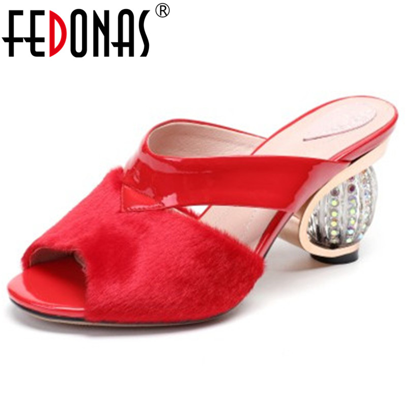 FEDONAS 2019 New Sandals Women Fashion Pumps Quality Horsehair Sexy Sandals Heels Strange Heel Slippers Summer