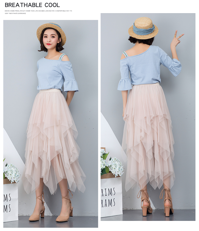 Women irregular Tulle Skirts Fashion Elastic High Waist Mesh Tutu Skirt Pleated Long Skirts Midi Skirt Saias Faldas Jupe Femmle 5