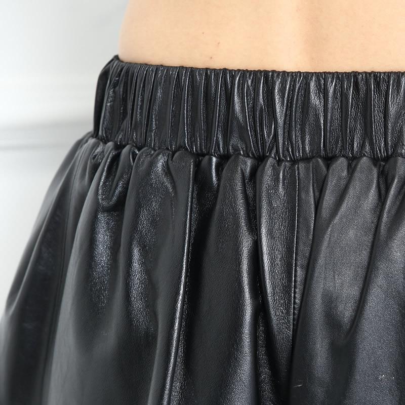 Red De Pierna Ancho Cintura black Marea Negro Borla Elástica Otoño Pantalones Oveja Rojo Cortos La Bolsillo Mujer Corto Piel Mujeres Udqxxwpt