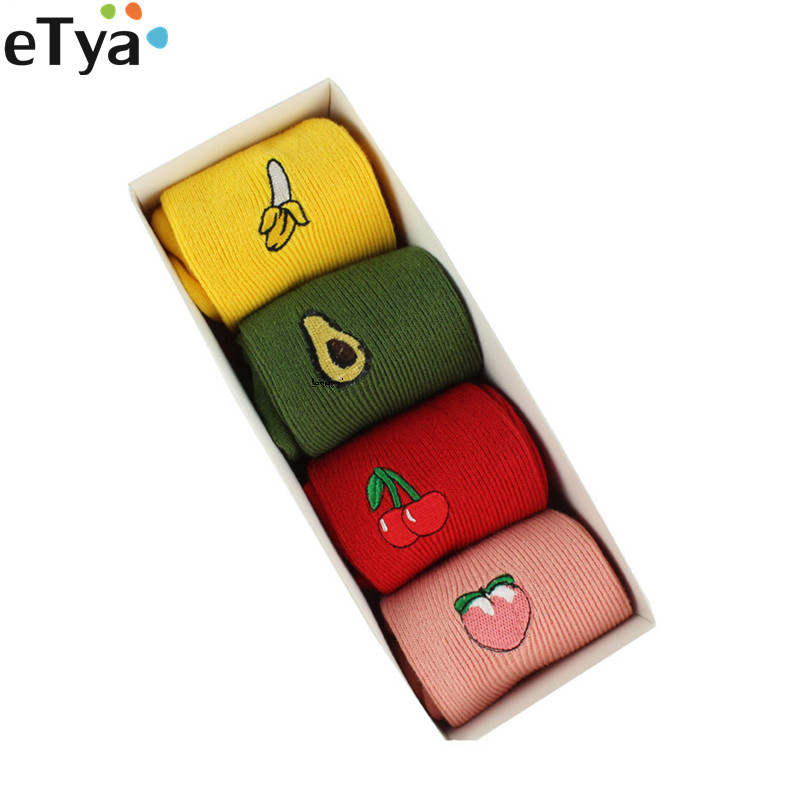ETya 1 Pair 2019 Korean Kawaii Fruit  Embroidery Cute Sock For Women Lady Girl Cotton Winter Autumn Short Socks Sox