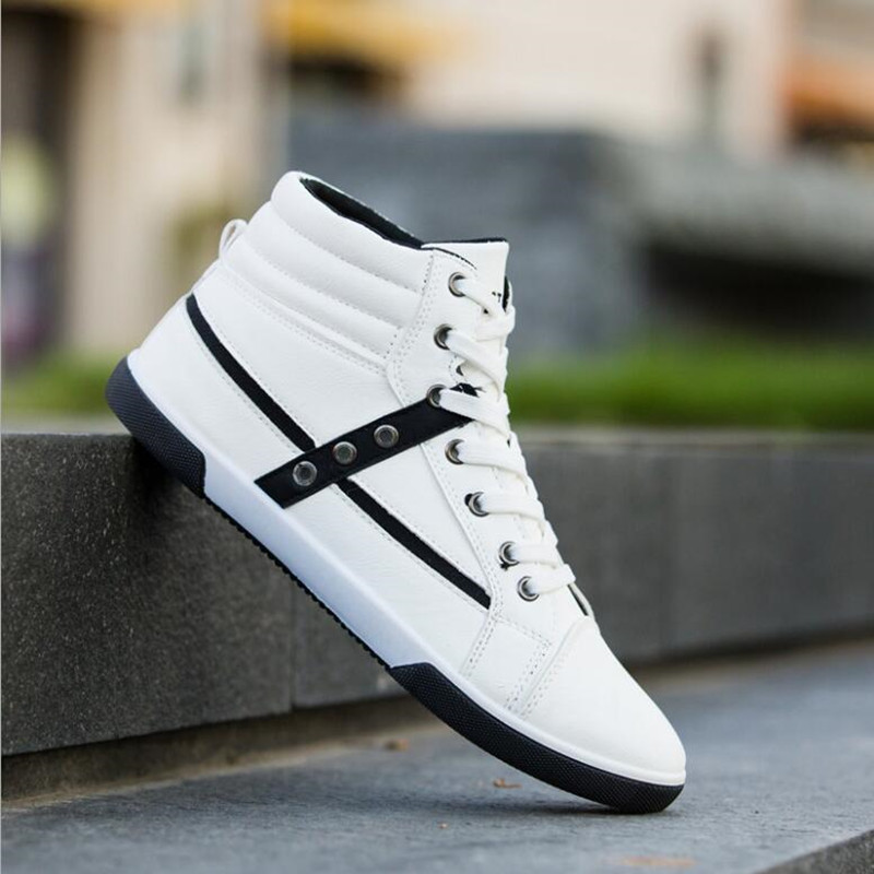 2018 new large size high help PU shoes tide two-color shoes Europe - Men's Shoes - Photo 4