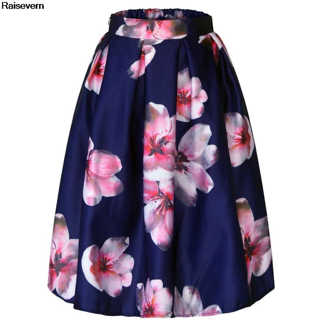New Autumn Summer Women Midi Skirt 2018 Flower Floral Print Retro Vintage  Skirt 50s 60s Elastic 84a3604abdeb