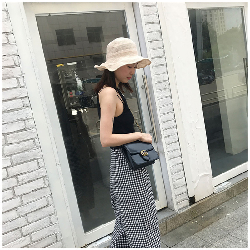 New Female Fisherman hat Female Folding Beach Visor Retro Literary Fisherman Hat Three Color Bar Fisherman Hat