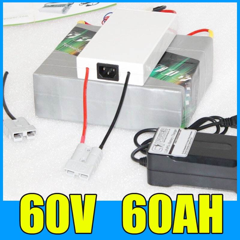 60V 60AH Lithium Battery Pack , 67.2V <font><b>3000W</b></font> Electric bicycle <font><b>Scooter</b></font> solar energy Battery , Free BMS Charger Shipping image