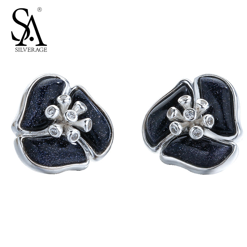 SA SILVERAGE Fine Jewelry 925 Sterling Silver Stud Earrings Small Black Flower Stud earrings for Women copper jewelry leopard head hanging pearl stud earrings tiger head green rhinestone black stud earrings for women