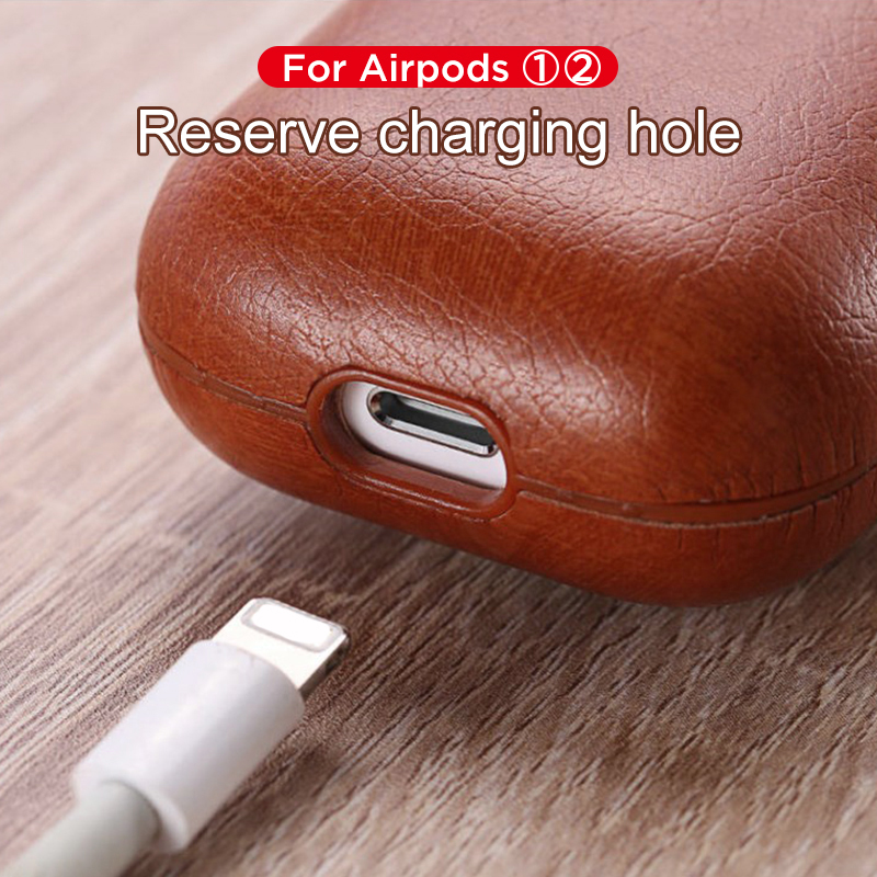 Image 2 - Luxury Bag For Apple AirPods Bluetooth Wireless Earphone Leather Case Cover For Air Pods 1 2 Funda Cover Charging Box Cases-in Earphone Accessories from Consumer Electronics