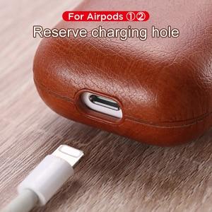 Image 2 - Sac de luxe pour Apple AirPods Bluetooth sans fil écouteur housse en cuir pour Air Pods 1 2 Funda couverture boîtier de charge