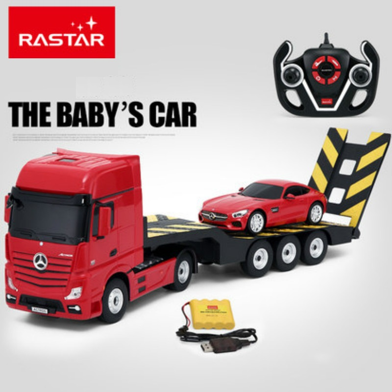 Rastar Electric Remote Control 1:14 Trailer Tractor Toy And 1:24 RC Car Combination RC Trailer Toys rastar 1 24 porsche 918 spyder серебро 71400