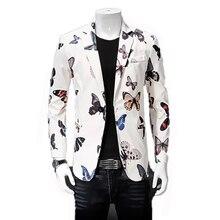 Slim Fit Men Blazer Vestuvės Spausdintas Elegantiškas Vyriškas Gėlių Šukuosena Hombre Korėjos Mada Drabužiai Vyriška Vyriška Drabužiai 7X0006