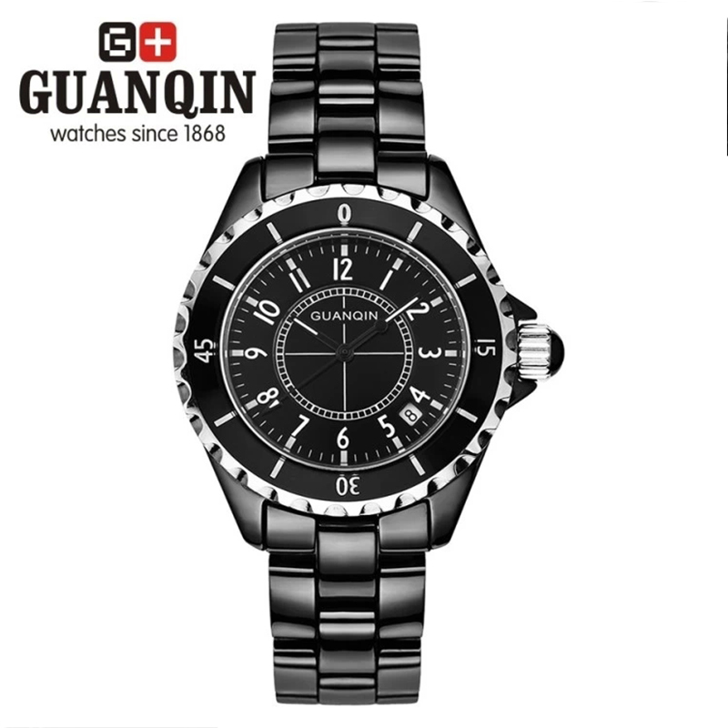 2016 Fashion Casual Lovers Dress Vintage Watch Original Brand GUANQIN Ceramic Strap Women Men Quartz Wrist Watch