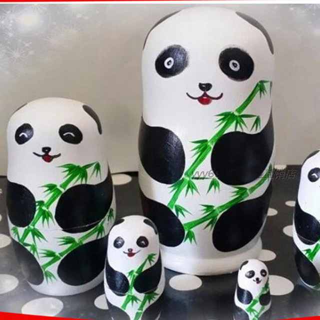 5 Layer Panda Russian Nesting Dolls High Quality Dry Basswood Matryoshka Dolls DIY Wooden Education Toys L50 Hobbies