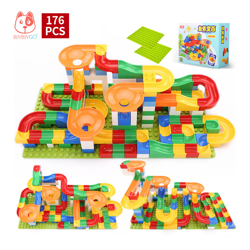 176 PCS DIY Construction Marble Race Run Maze Balls Track Building Blocks (Include Block Base Plate) Kids Educational Block Toys 100 pcs 149 pcs magic building block magnetic toys preschool skills educational game construction stacking sets block brick