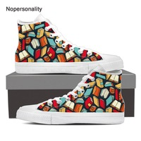 Nopersonality Trendy Fashion Book Lover Vulcanize Shoes Breathable High Top Canvas Shoes for Men Personalized Male Sneakers Plus