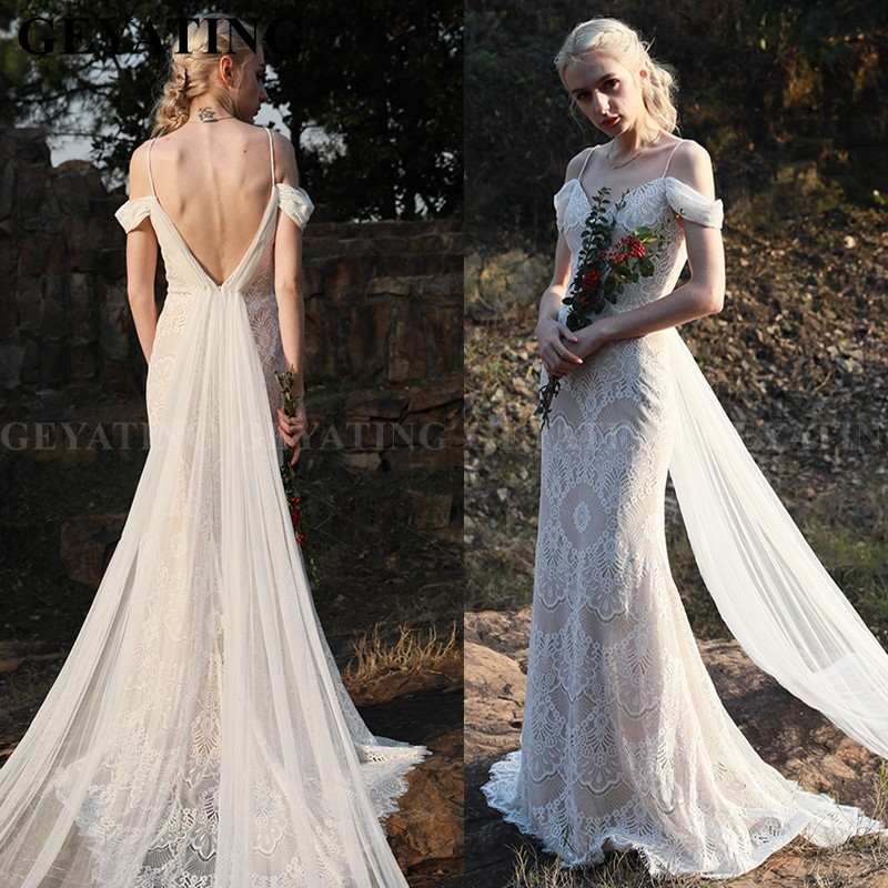 Vintage Lace Mermaid Boho Beach Wedding Dress 2020 Sexy Off The Shoulder Backless Country Style Wedding Gowns Hippie Bride Dress