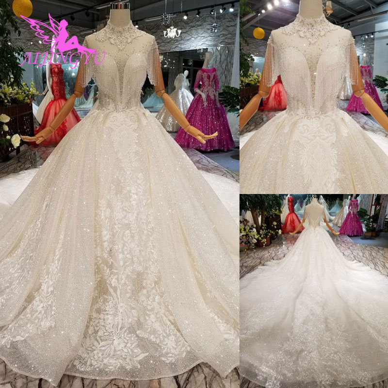 AIJINGYU Wedding Dresses With Sleeves Gown Gowns Luxury Lace Sequin Union Fashion Reception Wedding Dress