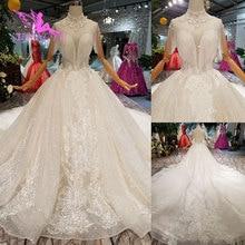 AIJINGYU חתונת שמלות עם שרוולי שמלת שמלות יוקרה תחרה נצנצים איחוד אופנה קבלת חתונה שמלה