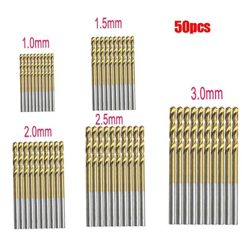 50Pcs Titanium Coated Drill Bits HSS High Speed Steel Drill Bits Set Tool High Quality Power Tools 1/1.5/2/2.5/3mm
