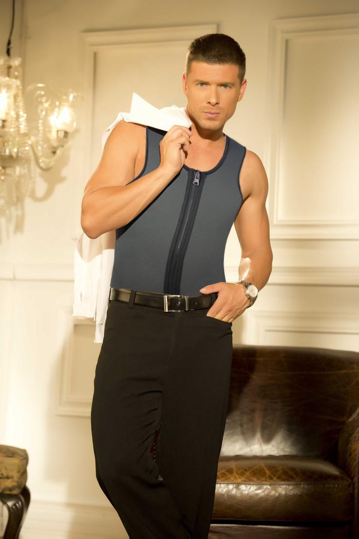 Men Latex Ultra Sweat Hot Waist Trainer Body Shaper Slimming Fit Vest Neoprene Front Zipper Fat Borning Control Top Shapewear (6)