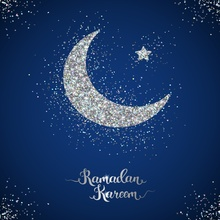 Laeacco Ramadan Kareem Silver Moon Star Dark Blue Festivals Party Photography Background Photographic Backdrop For Photo Studio