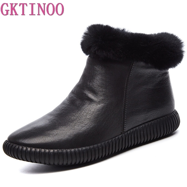 עור אמיתי שלג מגפי נשים גבוהה באיכות נשים של מגפי שיער ארנב חורף מגפי נשים נעליים חמות אישה Botas mujer