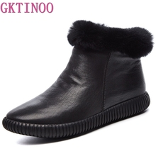 Genuine leather Snow Boots Women High Quality Womens Boots Rabbit Hair Winter Boots For Women Warm Shoes Woman Botas Mujer