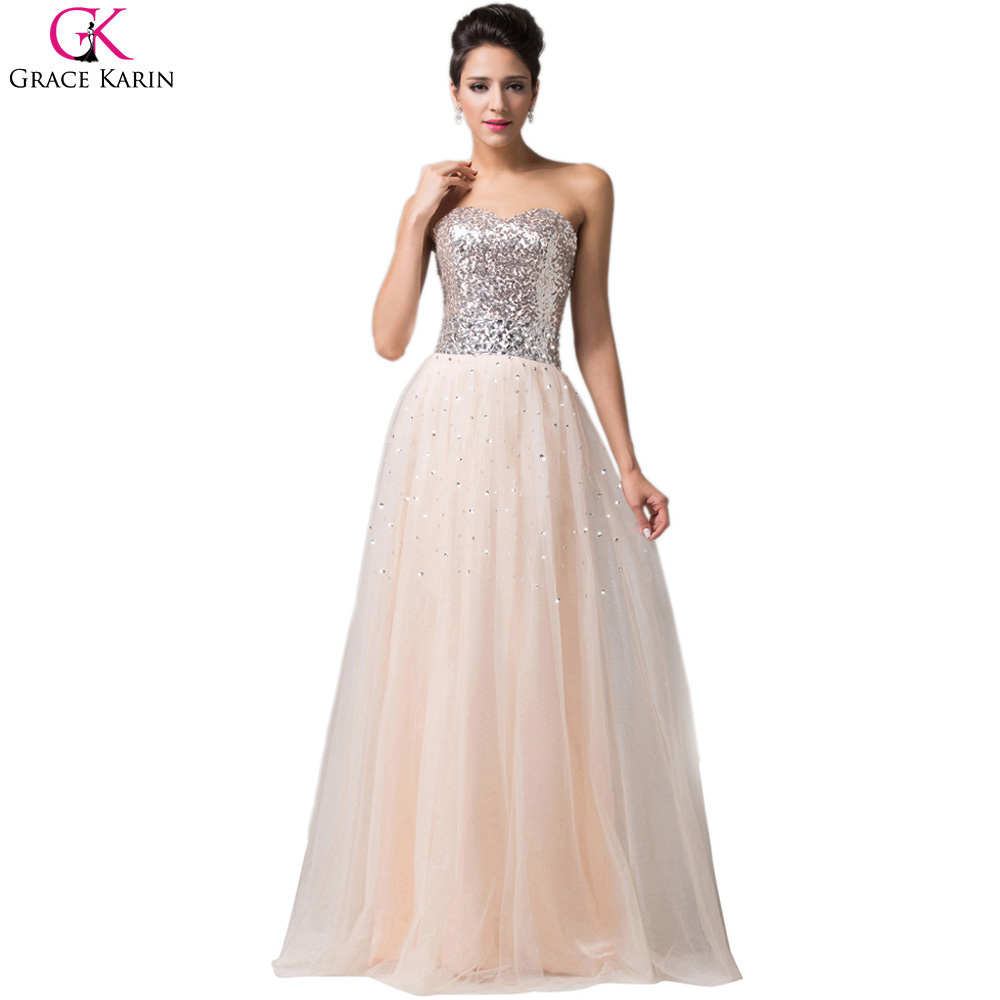 Grace karin evening dresses long 2017 glitter sequin for Wedding party dresses 2017