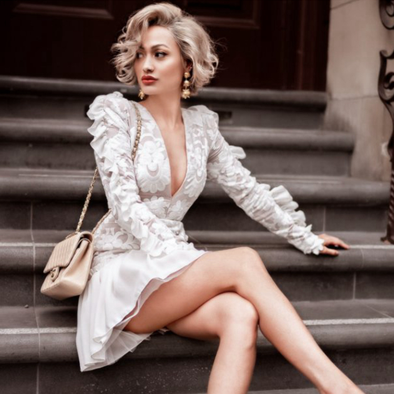 Ruches Longues Mini 2019 Broderie Partie Moda Nouvelle Manches Sexy V Designer Piste Robe Cou Robes Trompette Printemps Femmes ED2IWH9